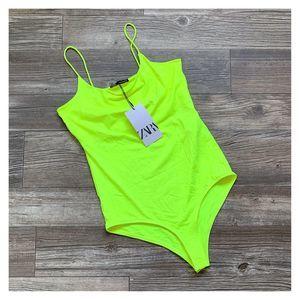 NWT Zara Neon Yellow Strappy Tank Snap Bodysuit
